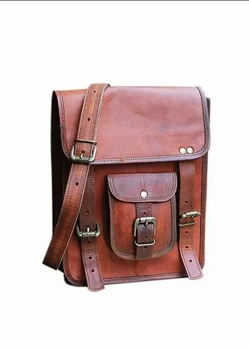 Male Mens Brown Leather Side Bag