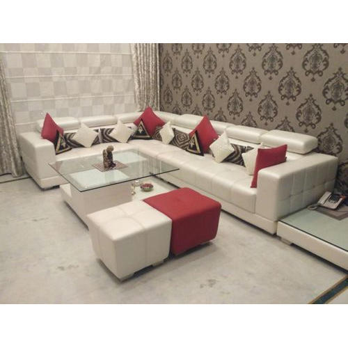 Leather L Shape Sofa Set