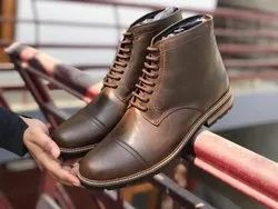 Brown Pure Leather Mens Low Ankle Boots