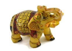 Handmade Marble Elephant with Miniature Painting