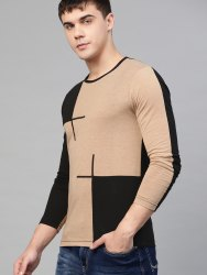 Cotton Beige and Black Designed T Shirt for Mens, Size: S to XXL