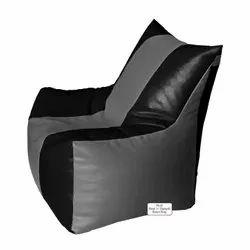Rest n Sleep Leatherette Bean Bag Filled With Beans Filler Classic Bean Chair Black/dark Grey