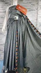 Katan Silk Weaving Design Sarees With Pompom Border