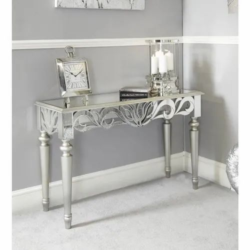 Venetian Silver Designed Cut Glass Mirror Console Table With Wooden Designer Legs For Home Decor At Rs 26500 Piece Console Table Id 21670170048