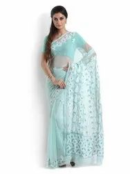 Cyan Georgette Saree with Chikankari with Mukaish Work(Product No1226)