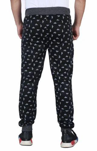743df116f75 Black Polyester Finger  s Men  s Cotton Printed Track Pant