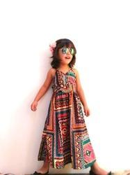 Girl Cotton Printed Boho Maxi Dress