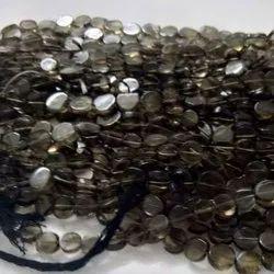 Jaico Smoky Quartz Coin Gemstone Beads