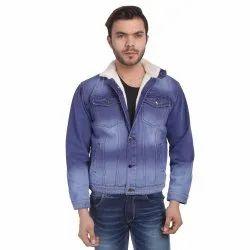 Full Sleeve Skupar Casual Men Denim Jacket With Fur
