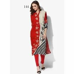 Womens Party Wear V Neck Printed Kurti