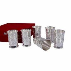 K&T Brass SIlver Coated Glass Set
