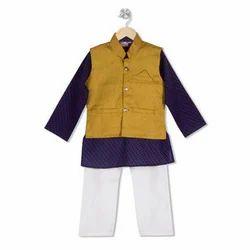 Cotton And Khadi Boys Kurta Pyjama With Jacket