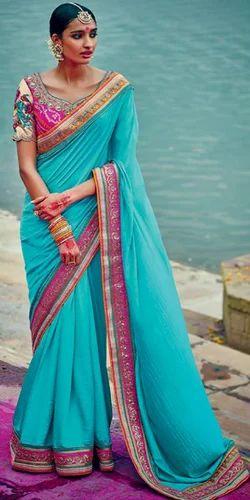 64ad5ba9817b1f Saree - Designer Light Blue Party Wear Saree Wholesale Supplier from ...