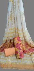 Mansi Printers Unstitched Bagru Hand Block Printed Cotton Suit with Chiffon Dupatta, Dry clean