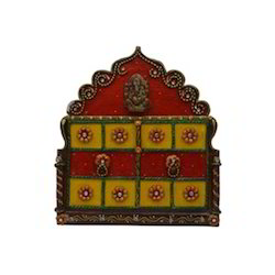 Wooden & Paper Mache Traditional Ganesha 4 Key Holder