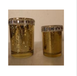 Diamond Rim Glass Candle Holder