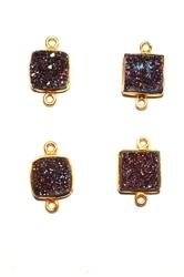 Purple Druzy Bezel Set Gemstone Connector