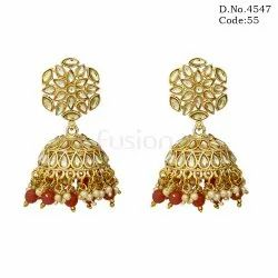 Antique Kundan Jhumka Earrings