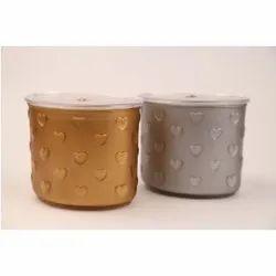 Multicolor Round Palio Gold & Silver Container