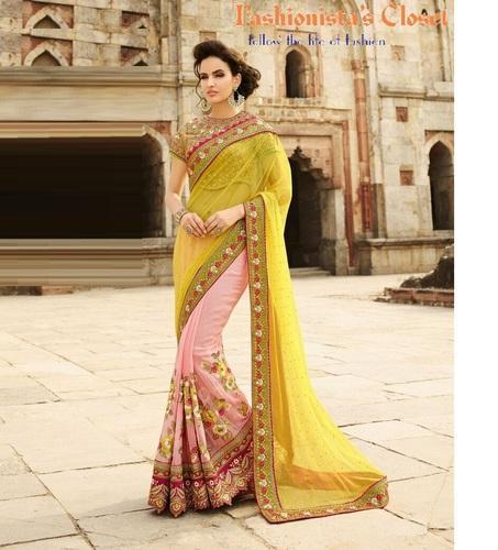 Fashionistas Closet Raw Silk Ladies Multicolor Designer Georgette Sarees, With Blouse Piece