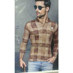 Mens Full Sleeves Brown Checked T-shirt