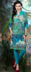 Senses Blue And Green Printed Viscose Kurti