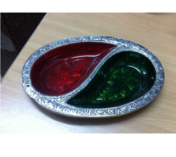 2 Partition White Metal Meenakari Platter
