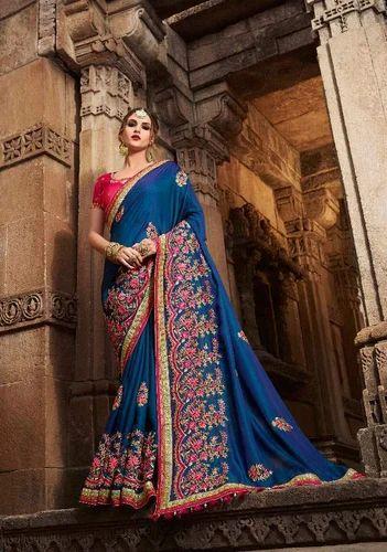 3d8fc8168633b Silk Royal Blue Embroidered Banarasi Saree