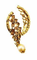 Golden And Red Copper Fashion Empire Gold Plated Chandbali Pearl Kundan Jhumka Jhumki Earrings For Women