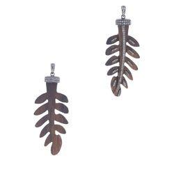 Diamond Wood Leaf Pendant