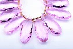 Morganite Pink Quartz Pear Beads