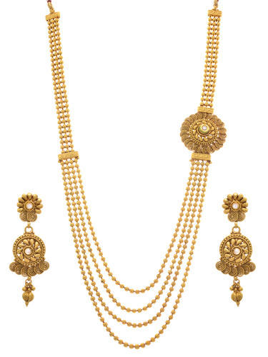 Jfl Gold Plated Kundan Bead Designer Long Necklace Set At Rs 3499