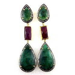 Emerald Ruby Diamond Earring
