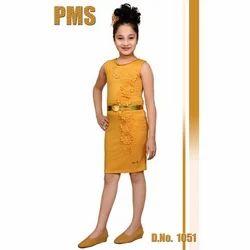 Party Wear Girls Yellow Western Dress