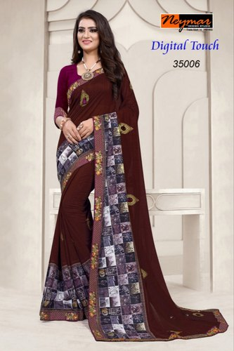 Cotton Printed Ladies Partywear Sarees, 6.3 m (with blouse piece) ,Packaging Type: Box