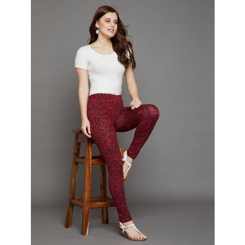 c72e1f8969596 The Pajama Factory Casual Wear Liberty Red Printed Leggings, Size: L ...