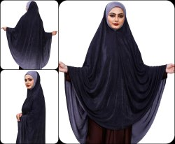 Grey Color Stitched 2 Shade Islamic Chaderi Scarf Hijab Abaya