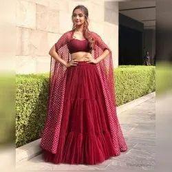 Maroon Colored Designer Wedding Wear Lehenga Choli, Age: 15-28
