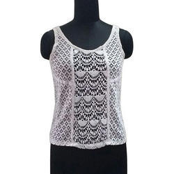 Ladies Sleeveless Round Neck White Net Top, Size: S-XL