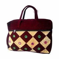 Embroidered Ladies Velvet Hand Bag, Packaging Type: Plastic Bag, For Shopping