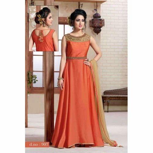 6ca17a2a54 Silk Plain Sleeveless Anarkali Suit, Rs 2500 /piece, Viva Fashion ...