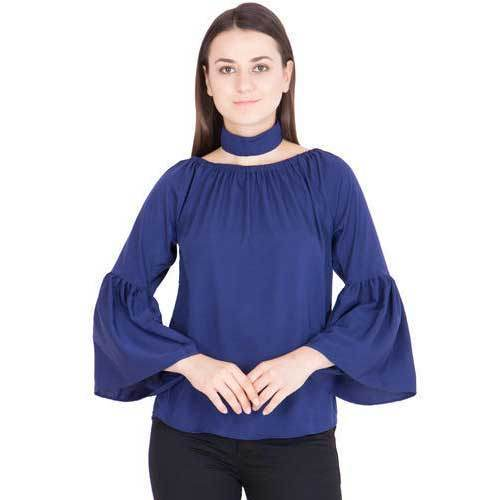 54f1a88132ff Large Plain Bell Sleeves Navy Blue Ladies Top