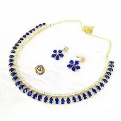 CL code AD Choker Blue Fashion Jewellery Necklace Earrings Set party collection