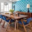 Brown Wooden 8 Seater Dining Table Set, For Home