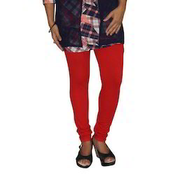 Ladies Cotton Lycra Plain Red Legging