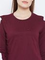 Ladies Burgundy Round Neck T-Shirt