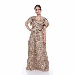Printed Ethnic Wear Sari Silk Party Wear Long Dress