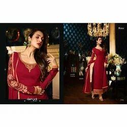 Georgette Red Ladies Designer Long Suit
