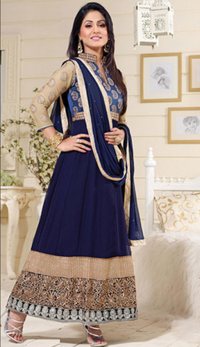 Annycreation Hina Khan Nevy Blue Anarkali Suit At Rs 980 Piece
