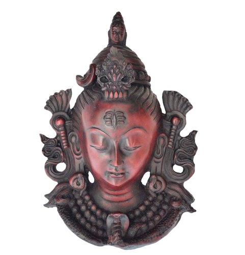 Maroon Antique Resin Lord Shiva Mask Wall Mask | ID: 3874222362